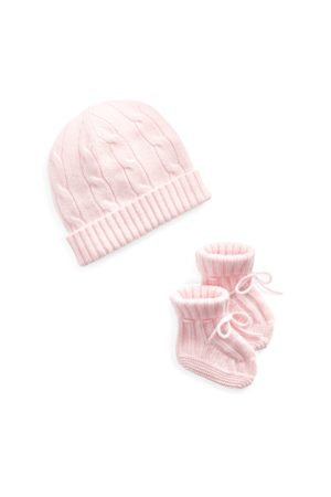 Baby Girl Cashmere Hat & Booties Set