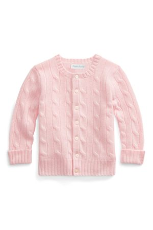 Baby Girl Cable-Knit Cashmere Cardigan