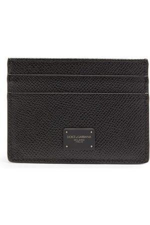 Dolce & Gabbana Heren Portemonnees - Logo-print Grained-leather Cardholder - Mens - Black