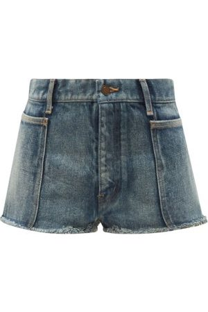 Saint Laurent Dames Shorts - Distressed Denim Shorts - Womens - Denim