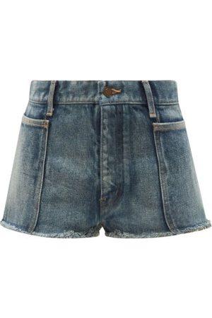Saint Laurent Distressed Denim Shorts - Womens - Denim