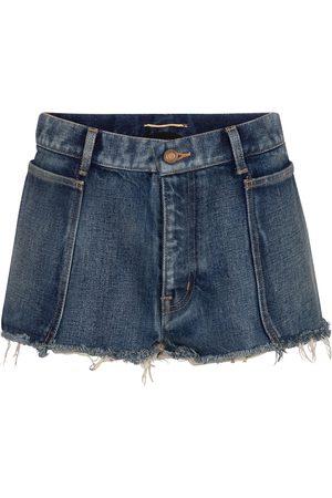 Saint Laurent Frayed low-rise denim shorts