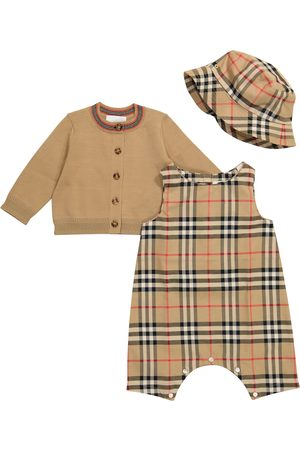 Burberry Baby Vintage Check cotton playsuit, cardigan and hat set
