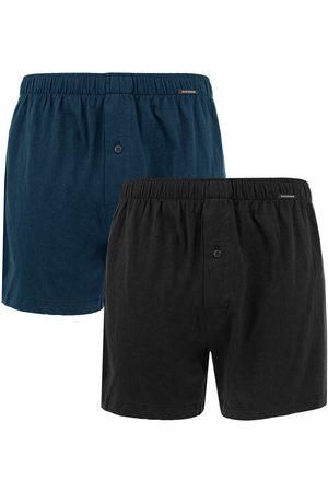 Schiesser Heren Boxershorts - Boxershorts jersey 2-pack wijde boxers zwart && blauw