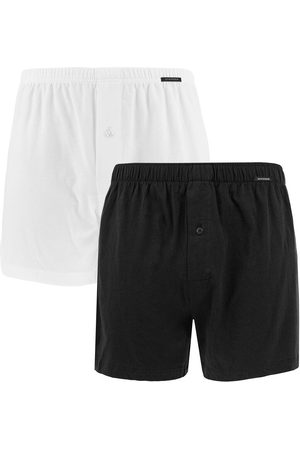Schiesser Boxershorts jersey 2-pack wijde boxers zwart && wit