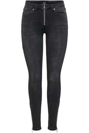 Only Onlblush Life Mid Zip Skinny Fit Jeans Dames Grijs