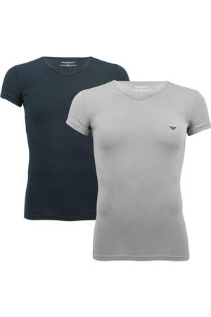 Emporio Armani Stretch 2-pack V-hals shirts donkerblauw & grijs