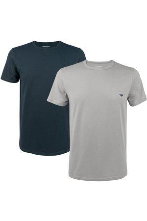 Emporio Armani Heren Shirts - Stretch 2-pack O-hals shirts donkerblauw & grijs