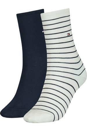 Tommy Hilfiger Dames Sokken & Kousen - Dames small stripe 2-pack wit & blauw