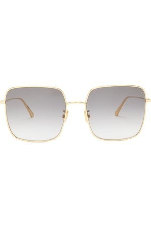 Dior Stellaire Square Metal Sunglasses - Womens - Grey Gold