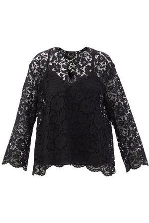 VALENTINO V-neck Guipure-lace Top - Womens - Black