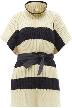 Moncler 1952 - Ciclista Striped Ribbed Cotton-blend Sweater - Womens - Cream Multi