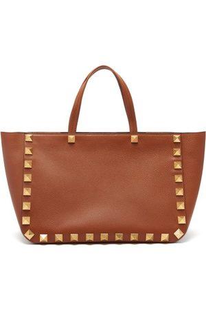 Valentino Garavani Roman Stud Grained-leather Tote Bag - Womens - Tan