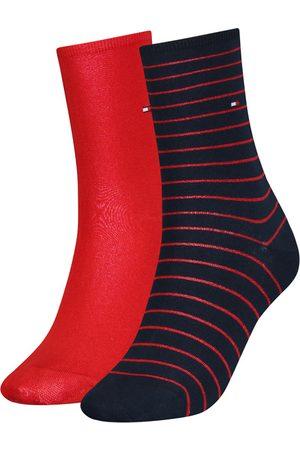Tommy Hilfiger Dames Sokken & Kousen - Dames small stripe 2-pack rood & blauw