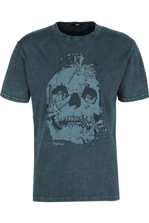 Tigha Heren afdrukbaar hemd Skull & Spiders Lessio grijs (vintage asphalt)