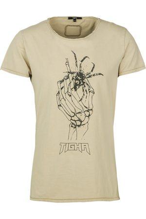 Tigha Heren afdrukbaar hemd Dead Hand Wren beige (vintage light sand)