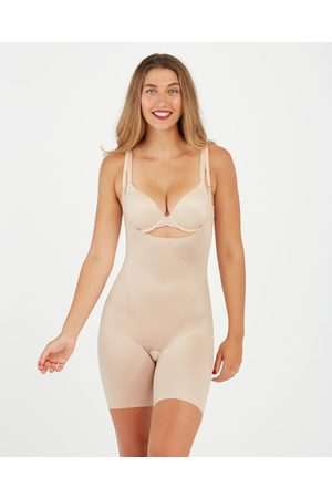 Spanx Thinstincts 2.0 Open-bust Mid Thigh Bodysuit | Soft Nude