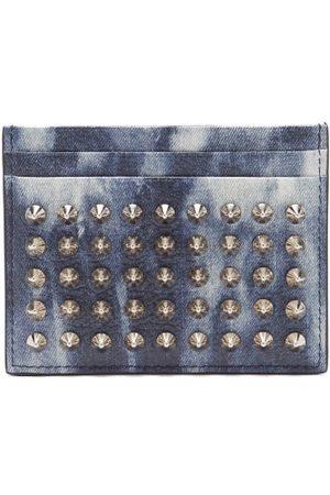Christian Louboutin Heren Portemonnees - Spiked Denim-effect Leather Cardholder - Mens - Silver Multi