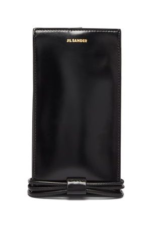 Jil Sander Dames Telefoon - Tangle Leather Phone Case - Womens - Black