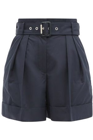 Alexander McQueen High-rise Belted Cotton-twill Shorts - Womens - Navy