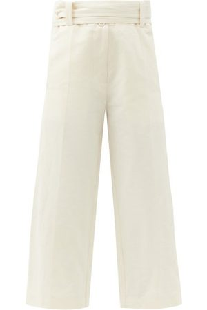 Moncler 1952 - High-rise Cropped Cotton-blend Wide-leg Trousers - Womens - White