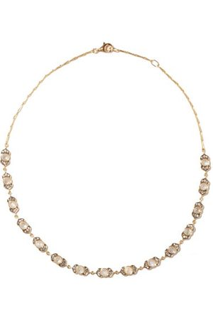 NOOR FARES Kamala Diamond, Moonstone & 18kt Gold Necklace - Womens - Gold Multi
