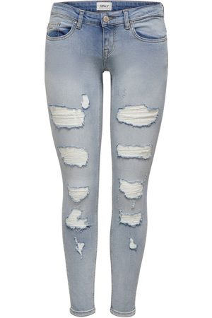 Only Onlcoral Low Ankle Destroyed Skinny Jeans Dames Blauw