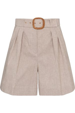 Rebecca Vallance Zohra belted cotton and linen shorts