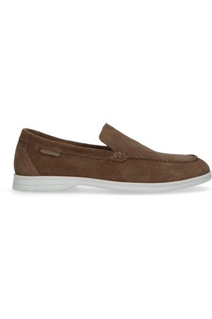 Manfield Taupe suède loafers met witte zool