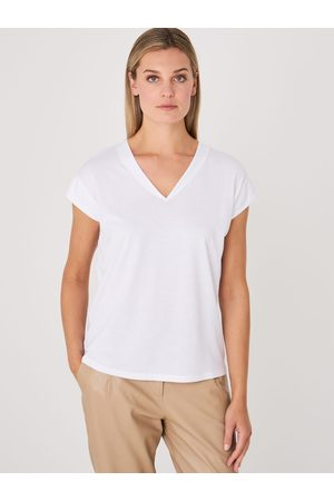 Repeat Dames V-hals katoenmix top met oversized schouders