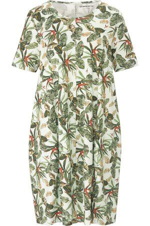 Green Cotton Dames Geprinte jurken - Jerseyjurk van 100% katoen met bladerprint Van