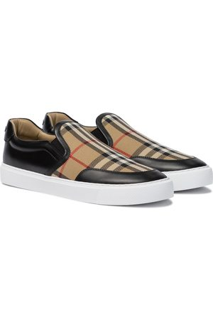 Burberry Vintage Check leather and canvas sneakers