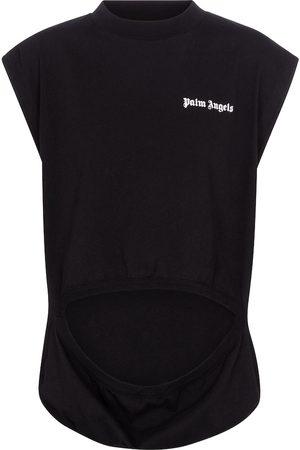 Palm Angels Cutout cotton jersey tank top