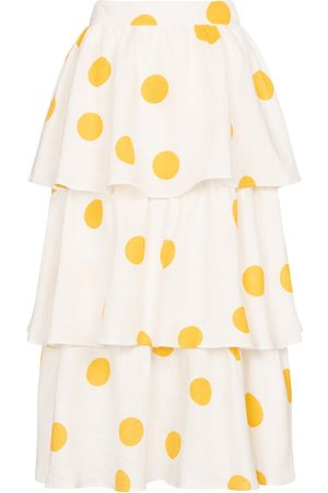 Rebecca Vallance Aya polka-dot linen midi skirt