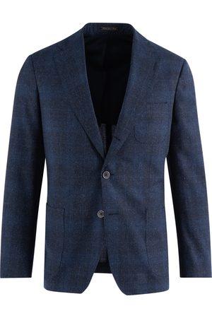 SOC13TY Heren Pakken - SOCI3TY Pak Heren Navy Geruit Wool Silk