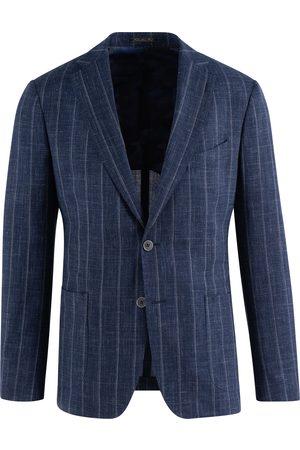 SOC13TY Heren Pakken - SOCI3TY Pak Heren Navy Gestreept Wool Silk Linen