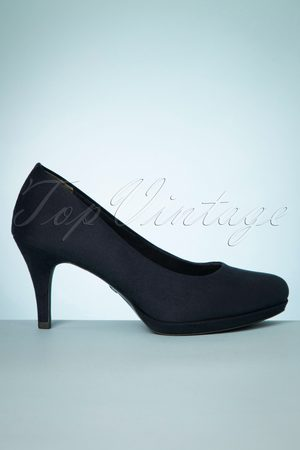 Tamaris 50s Monica Suedine Pumps in Dark Navy