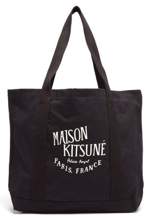 Maison Kitsuné Heren Shoppers - Palais Royal Cotton-canvas Tote Bag - Mens - Black