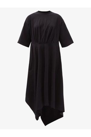 Balenciaga Asymmetric-hem Cotton-jersey T-shirt Dress - Womens - Black