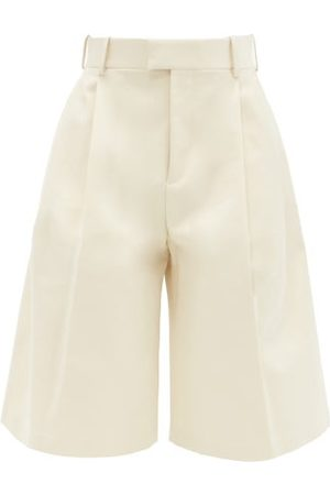 Bottega Veneta High-rise Cotton-twill Wide-leg Shorts - Womens - Cream