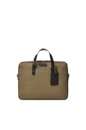 Polo Ralph Lauren Leather-Trim Canvas Briefcase