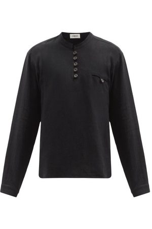 COMMAS Buttoned Linen-blend Shirt - Mens - Black