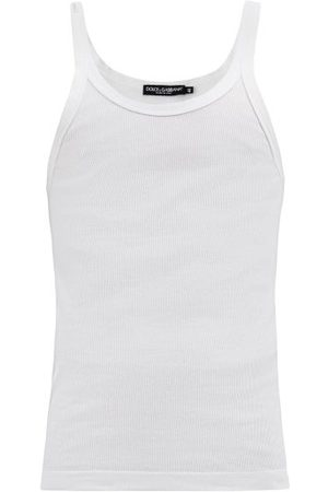 Dolce & Gabbana Logo-patch Ribbed Cotton-jersey Tank Top - Mens - White