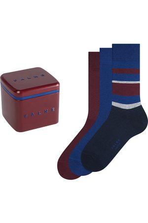 Falke Heren Sokken & Kousen - Happy box 3-pack stripe solid blauw & rood