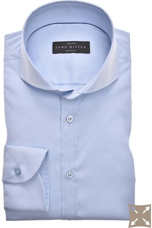 John Miller Blauw overhemd Slim Fit stretch