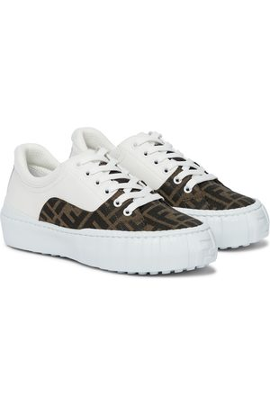 Fendi Force leather and canvas sneakers