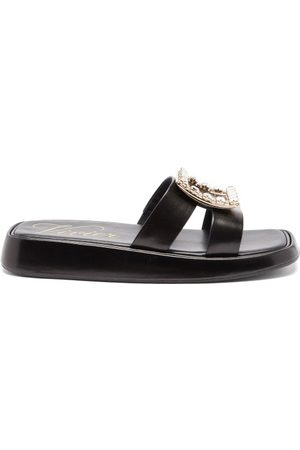 Roger Vivier Crystal-buckle Leather Slides - Womens - Black