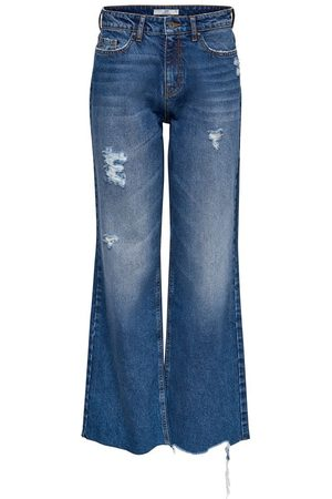 Only Dames High waisted - Jdyselma Life Wide Destroy High Waisted Jeans Dames Blauw