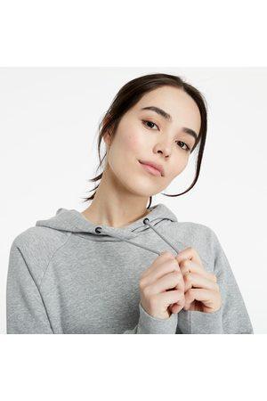 Nike Dames Sweaters - Sportswear Essential Pullover Fleece Hoodie Dk Grey Heather/ White