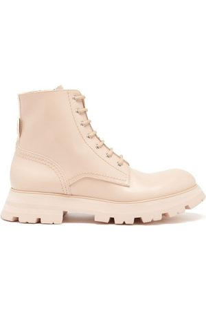 Alexander McQueen Wander Exaggerated-sole Leather Boots - Womens - Light Pink